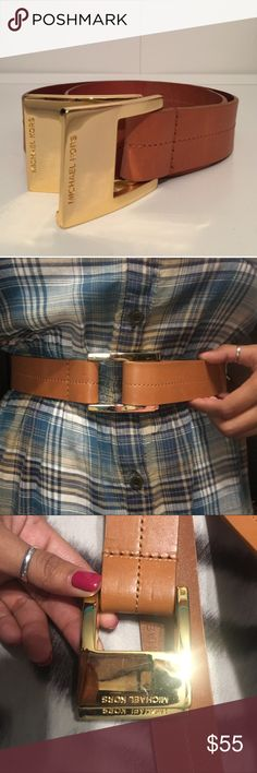 Michael Kors Double Buckle Belt Tan leather with a hint of orange, I guess like a cognac leather. Either way this matches so much! Such a nice belt, I get tons of compliments when I wear it. Only selling because I own too many. You have to loop it over the two buckles and pull it to secure, there are no holes. It's a size small. Used it multiple times but still in great condition as you can see in photos! Michael Kors Accessories Belts