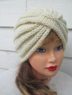 1970s 80s Vintage Knitting Pattern-TURBAN STYLE HAT   Boyfriend Fit ... c337587cebe