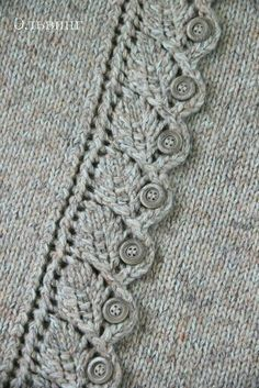 pretty leaf edging used as button holes sweater detail knitting