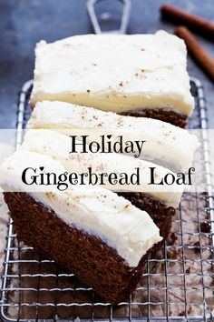 Make this lovely Holiday Gingerbread Loaf recipe and take it to your next holiday party! Christmas Party Food, Christmas Cooking, Christmas Desserts, Christmas Treats, Holiday Treats, Holiday Recipes, Christmas Recipes, Christmas Foods, Holiday Foods