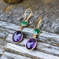 Amethyst and Green Semi-Precious Stone Earrings