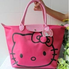 Hello Kitty pink big tote bag with big kitty face