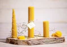 Beeswax candles Gift candles set with wooden holder Gift beeswax candles box Set of wooden holder with beeswax candles Mother's Day Gift Rustic Candle Holders, Rustic Candles, Candle Box, Aromatherapy Candles, Beeswax Candles, Yellow Candles, Natural Candles, Candle Making, Expensive Candles