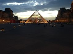 The sunset here is so nice! #LouvrePyramid
