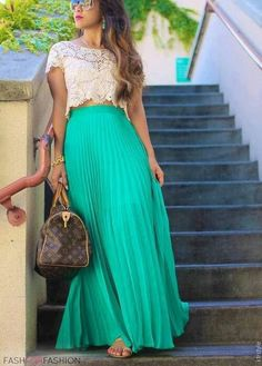 Lace top with a pleated, teal maxi skirt. Such a cute summer outfit!