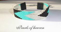 gewebtes Armband bead loom in schwarz türkis silber mit Miyuki Delicas