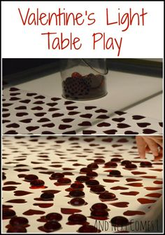 Valentine's light table play from And Next Comes L