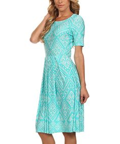 Look what I found on #zulily! Mint & White Geometric Midi Dress by Pretty Young Thing #zulilyfinds