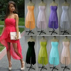 Cheap bridesmaid dress cap sleeve, Buy Quality dress attire for weddings directly from China bridesmaid dresses kids Suppliers: 2014 Free Shipping Strapless Chiffon Red Purple Blue Pink Black High Low Short Bridesmaid