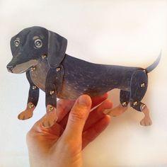 DIY Cute Dachshund Weiner Dog Paper Doll For by ArtistInLALALand