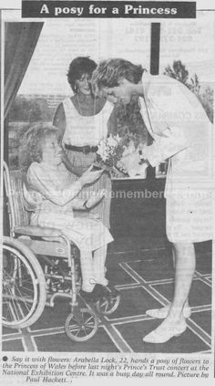 Today's Memories Of Diana is from July 18th 1989. Princess Diana was pictured receiving a posy of flowers from 22 year old Arabella Lock, back stage as she and Prince Charles prepared to attend a 'Prince's Trust' concert at the NEC in Birmingham.