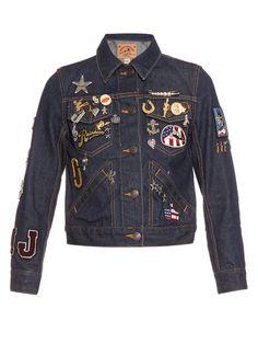 Embroidered shrunken denim jacket   Marc Jacobs   MATCHESFASHION.COM