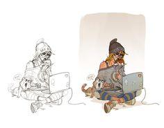 Lunch Sketch ArtBook Cover, Hicham Habchi on ArtStation at https://www.artstation.com/artwork/rz8XE