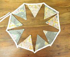 world map fabric flag bunting