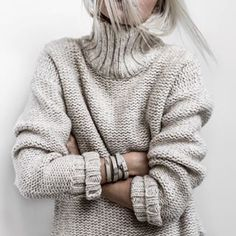 I like the wide neck and the subtle cream/beige tint. Knit Fashion, Grey Fashion, Winter Fashion, Fashion Outfits, Sweater Weather, Minimalist Fashion, Casual, Winter Outfits, Knitwear