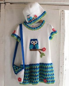 Owl T-Shirt Dress, Hat and Purse Crochet Pattern