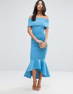 ASOS PREMIUM Deep Fold Pephem Midi Dress