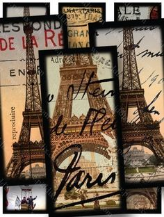 Collage sheet made with dozens of different souvenir postcards and photographs of the Eiffel Tower circa 1889, as well as Hot air balloon engravings, a vintage ticket, and love letters from the 1700s. Printables by piddix.