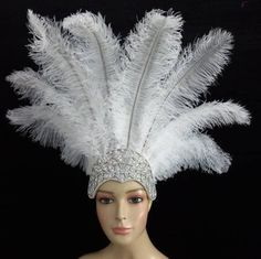 White Feathers, Ostrich Feathers, Crystal Crown, Crystal Rhinestone, Mythical Birds, Feather Headpiece, Tiaras And Crowns, Gold Accents, Stones And Crystals