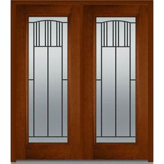 Milliken Millwork 66 in. x 81.75 in. Madison Decorative Glass Full Lite Oak Finished Fiberglass Exterior Double Door, Warm Chestnut