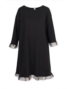 Damen Jerseykleid Tüllspitze, schwarz von Made in Italy bei www.meinkleidchen.de