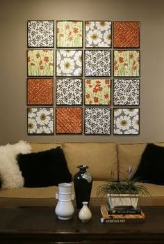 Wall Display Idea (could use 12x12 canvases with edges painted black and scrapbook paper Mod Podged on top)  |  {Photobucket}