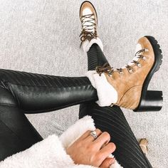 Shop Women's Marc Fisher Tan White size Lace Up Boots at a discounted price at Poshmark. Winter Boots Outfits, Winter Snow Boots, Winter Shoes, White Boots, Lace Up Boots, Marc Fisher Boots, Devil Wears Prada, Autumn Fashion, Heels