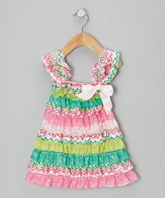 Take a look at this Pink & Teal Zigzag Ruffle Dress - Infant, Toddler & Girls by Diva Daze on #zulily today!