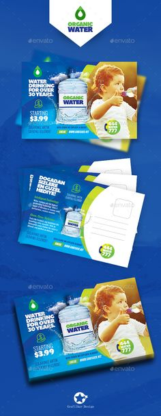 Buy Drinking Water Service Postcard Templates by grafilker on GraphicRiver. Postcard Template, Postcard Design, Flyer Template, Organic Water, Business Postcards, Brochure Design, Yummy Drinks, Drinking Water, Banner Design