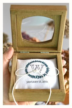 Personalized ring bearer box with a glass lidcalendar ring