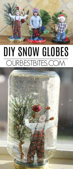 This fun & easy project can be done with supplies you probably already have! Create a winter wonderland, & even place a photo inside these DIY Snow Globes! Snow Globe Crafts, Diy Snow Globe, Christmas Snow Globes, Snow Globe For Kids, Kids Globe, Preschool Christmas, Christmas Crafts For Kids, Christmas Diy, Diy Christmas Gifts For Parents