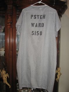 Psych Ward Mental Patient 5150 Halloween Costume Gown 52 X 42 Size Fits Most