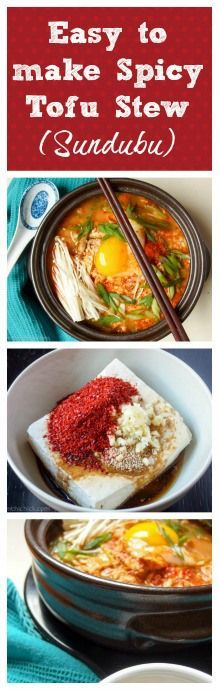 Easy recipe to make delicious spicy tofu stew (sundubu)! Spicy Tofu Recipes, Japanese Tofu Recipes, Asian Recipes, Vegetarian Recipes, Cooking Recipes, Healthy Recipes, Korean Tofu Recipes, Easy Recipes, Recipes Dinner