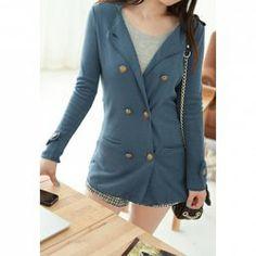 $7.78 Elegant Solid Color Chic Fastener Embellished Coat For Women
