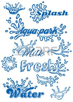 set of vector template with elements of the water for milk juice pure water Stock Vector Creative Lettering, Graffiti Lettering, Hand Lettering, Calligraphy Logo, Typography, Sign Fonts, Water Icon, Water Logo, Chalkboard Art