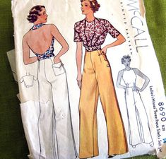 So Hepburn! Love the pants. 1930s Vintage Sewing Pattern Backless Halter Top by SelvedgeShop, $52.00