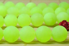 47 pcs of Green Jade matte round beads in 8mm