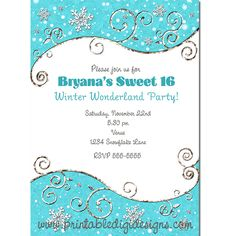 Winter Wonderland Snowflakes Bright Blue Silver Swirls Invitation