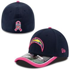 3acea273e45 Mens San Diego Chargers New Era Navy Blue Breast Cancer Awareness 2014 On  Field Flex Hat