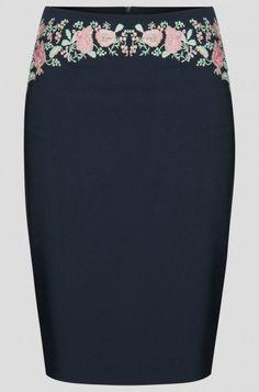 Pouzdrová sukně s květovanou výšivkou | ORSAY