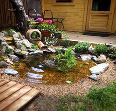 My pond - DIY Garten Landschaftsbau Small Water Gardens, Fish Pond Gardens, Outdoor Landscaping, Front Yard Landscaping, Outdoor Gardens, Diy Garden Fountains, Pond Fountains, Outdoor Water Features, Water Features In The Garden