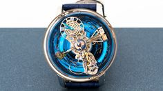 "Frequency, 21,600 vph, running in 42 jewels, with triple axis tourbillon. Power reserve, 60 hours. Sidereal day and year displays, with month of the year indication; night sky indication. Lacquered hand-engraved titanium globe rotating once every 24 hours. ""Jacob Cut"" orange sapphire, 1 carat, with 228 facets. Case, 47mm x 25mm, rose gold with sapphire windows; domed sapphire crystal with antireflective coating. Water resistance, 30 meters. Limited edition of 18 pieces worldwide; $580,000."