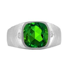 Men's Diamond Antique Cut Emerald Ring In White Gold Available Exclusively at Gemologica.com