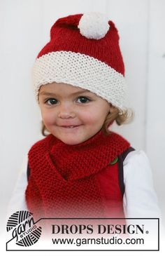 """Little Miss Claus - Knitted DROPS Christmas hat and scarf in 2 threads """"Alpaca"""". - Free pattern by DROPS Design Kids Knitting Patterns, Baby Hats Knitting, Knitting For Kids, Knitted Hats, Free Knitting, Finger Knitting, Scarf Patterns, Knitting Tutorials, Hat Patterns"""