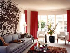 red, white and grey living room