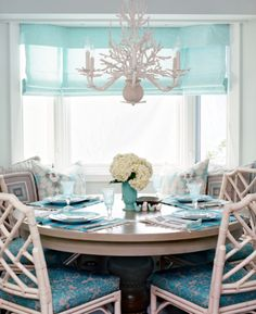 Chippendale chairs and aqua-- beachy keen