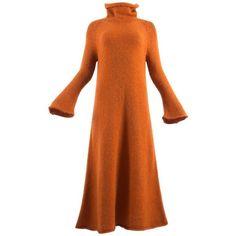 Preowned Yohji Yamamoto Autumn-winter 1998 Orange Knitted Maxi Dress ($1,218) ❤ liked on Polyvore featuring dresses, day dresses, orange, maxi dresses, orange dress, yohji yamamoto, yohji yamamoto dress and maxi length dresses