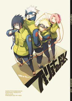Time 7 - Sasuke, Kakashi, Naruto e Sakura Naruto Shippuden, Naruto And Sasuke, Manga Naruto, Naruto Team 7, Naruto E Boruto, Naruto Family, Kakashi Sensei, Naruto Cute, Naruto Funny