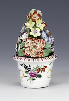 A very rare Worcester pot of modelled flowers circa 1768-70