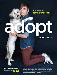 How adorable are Kevin McHale and his adopted dog Spophie in this new PETA ad?!